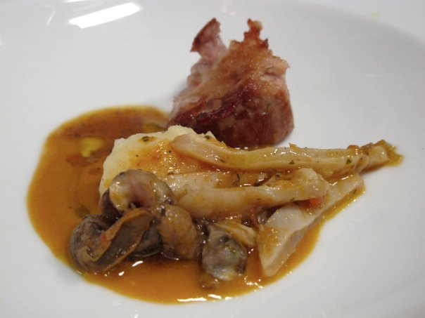 Moreno Cedroni, taster served in the kitchen of La Madonnina del Pescatore** 2011.Veal shin (60°C 18 hours) wrapped in lardo, with snails and Monkfish belly tripe and lentil soup.