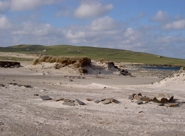 The remains of a 19th Century kelp burning pit on Orkney (Wikimedia Commons)