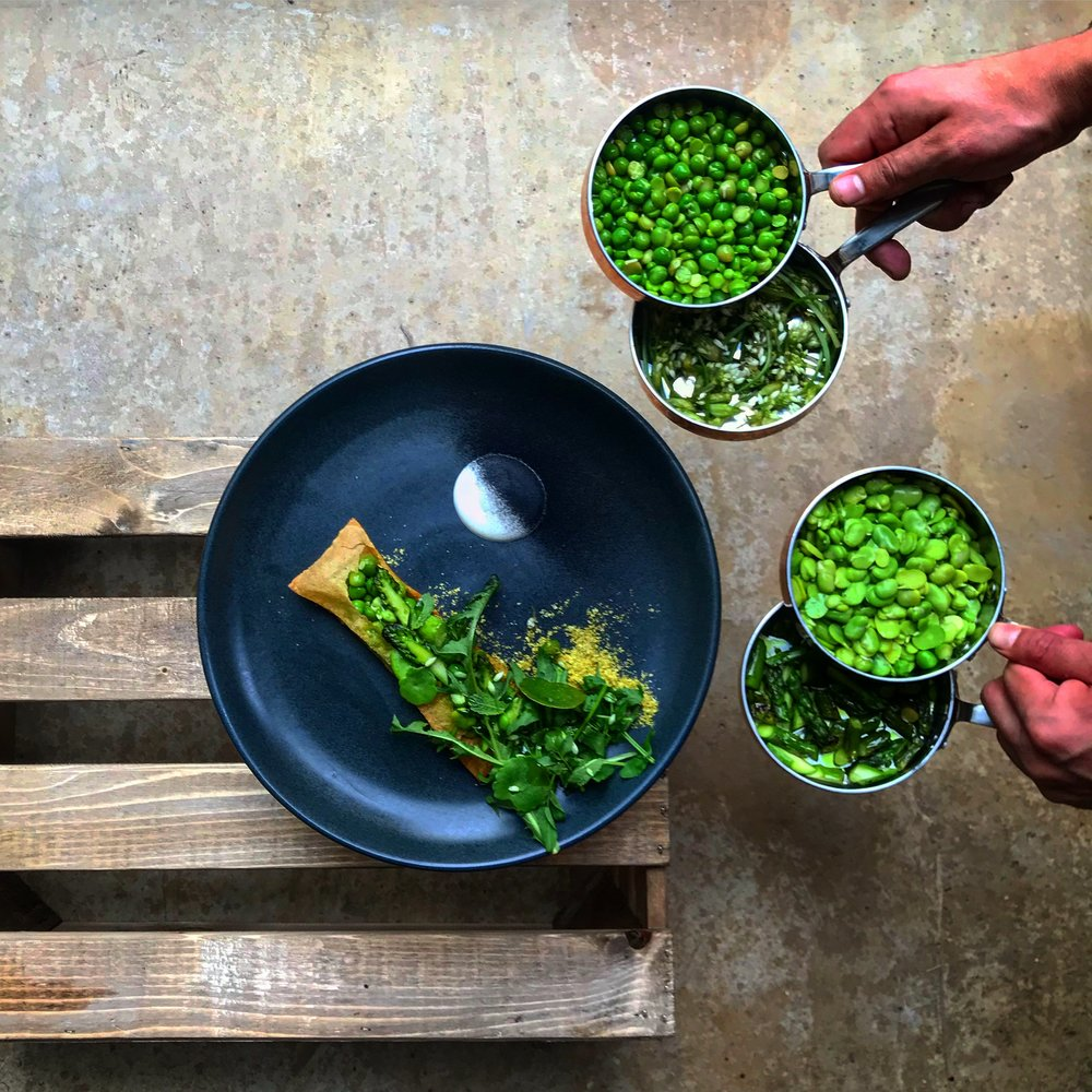 Flauta Peas, Beans, pistachio and Smoke cream Fresh, London .JPG