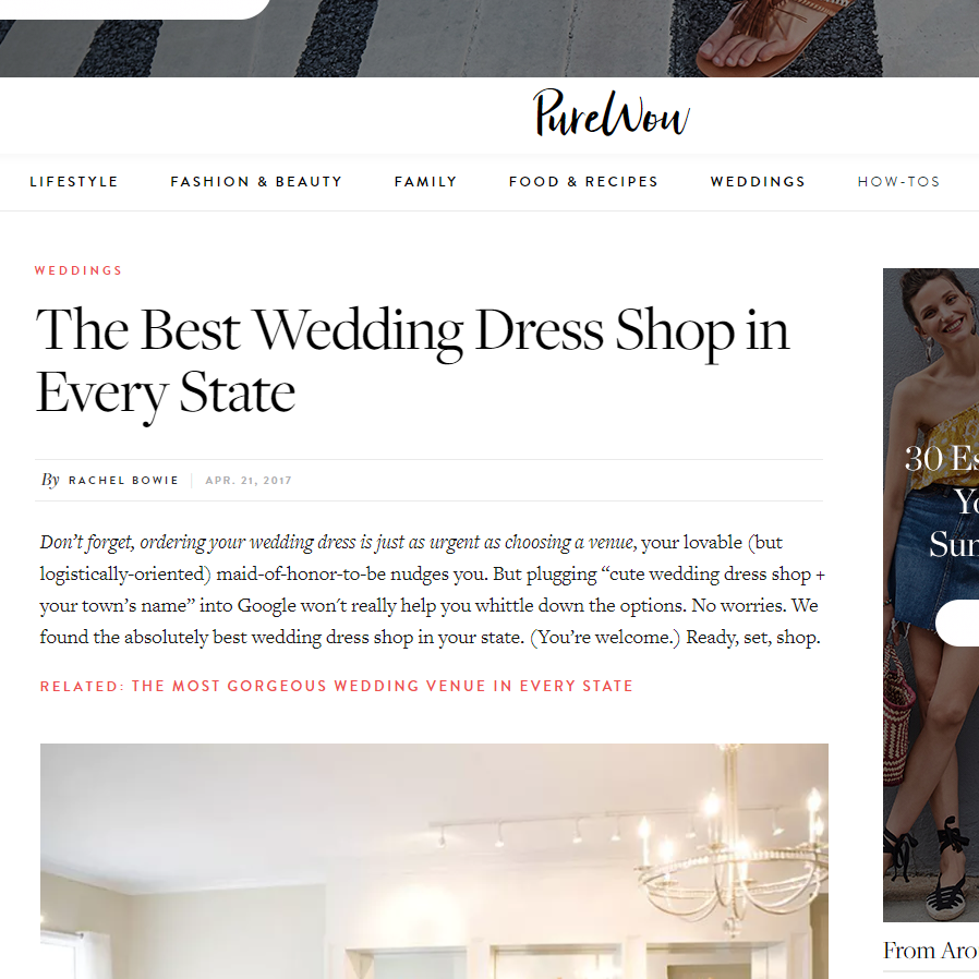 Pure Wow - Named Best Bridal Shop in MS