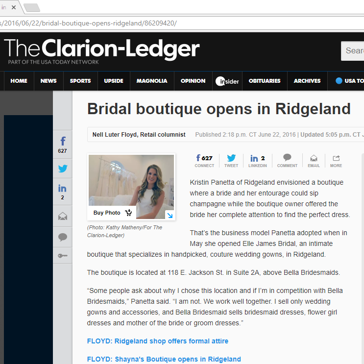 The Clarion Ledger - Bridal Boutique Opens in Ridgeland, MS