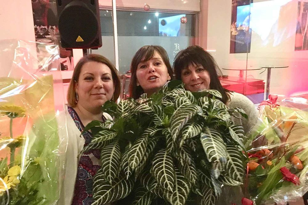 Élodie Martinez, Madeleine Parent et Linda Gravel.
