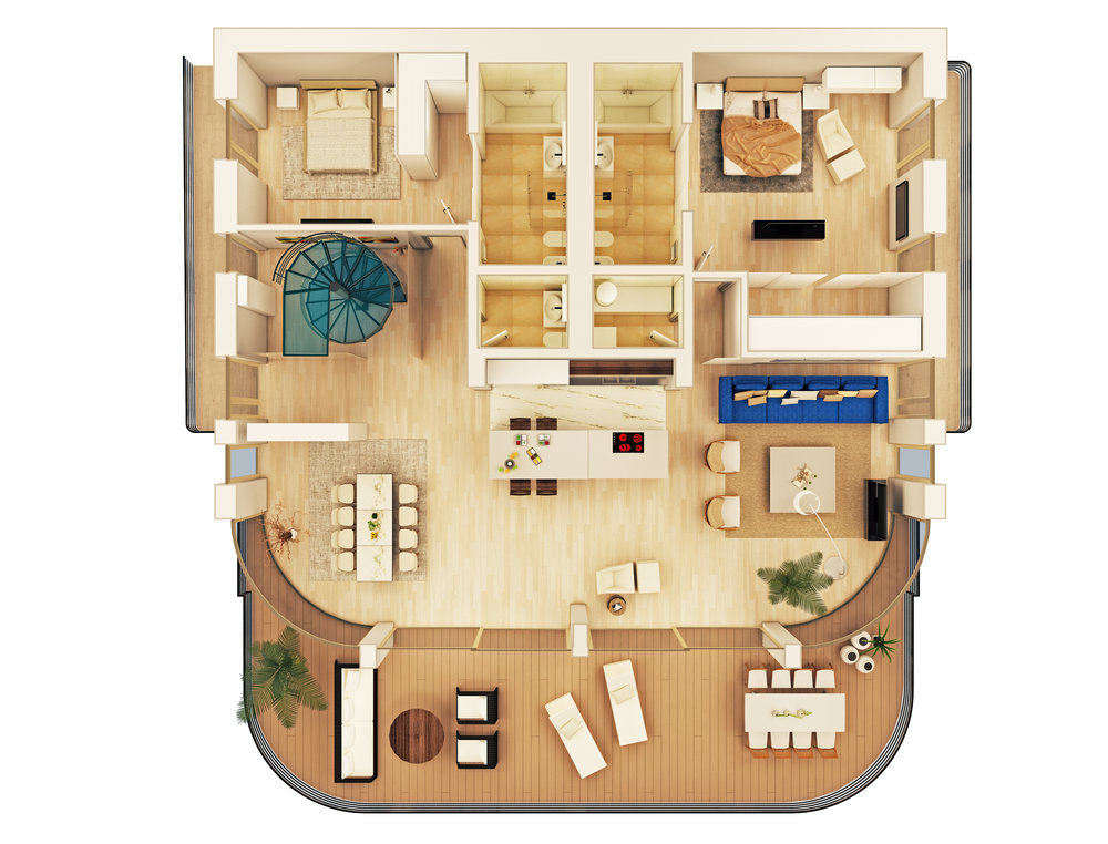 Floors: 3-4, Bedrooms: 2, Living area: 190m2, Terrace (Level 1): 62m2, Side terrace: 9m2, Entrance terrace: 10m2