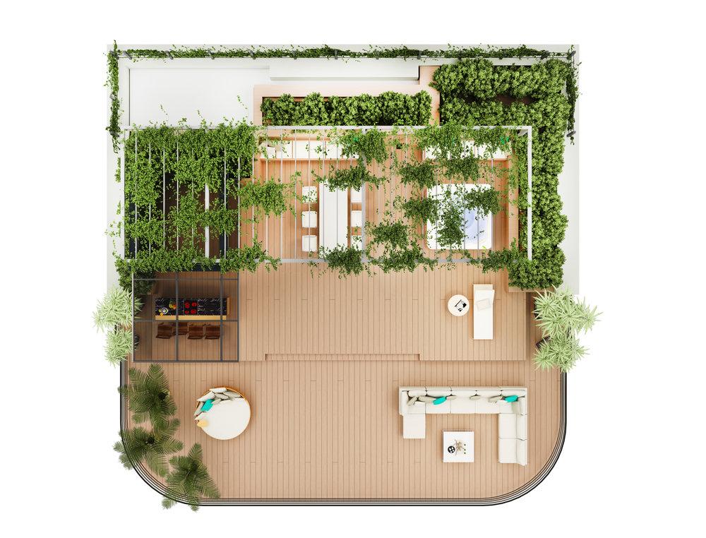 Терраса на крыше: 231м2, оборудованная  Villeroy & Boch джакузи, OCQ наружной кухней, душем, зеленью и садовой мебелью.
