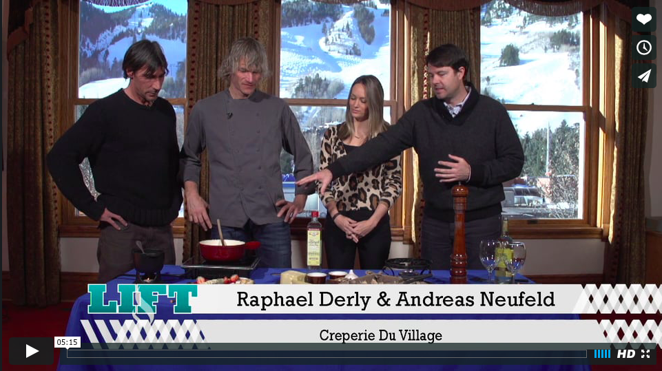 """Lift from the Wheeler: Raphael Derly and Chef Andreas Neufeld live on tv.""   THE LIFT   J-Ray and Oliver interview Raphael Derly and Andreas Neufeld of Creperie Du Village  Watch   HERE"