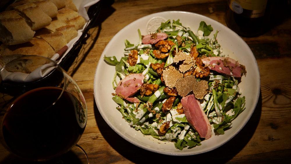 Salade de Magrets de Canard:  Haricots Verts, House Cured Duck Breast, Candied Walnuts, Baby Arugula, Black Truffle Vinaigrette, Served w/ Freshly Shaved Black Truffles