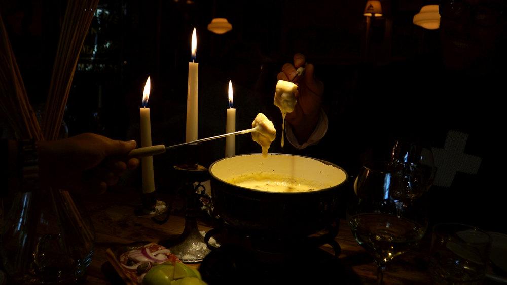 Treat Yourself:  Deluxe Cheese Fondue w/ Freshly Shaved Truffles,   Melted Gruyère, Vacherin, Beaufort, Comté, White Wine, Kirsch, Served w/ Apples, Salami & Crispy Bread   Delightful with:  Jean-René Germanier, Petite Arvine, Switzerland