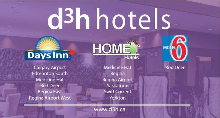 "d3h Hotels  owns and operates 13 (soon to be 14) properties throughout Saskatchewan and Alberta. Customer service and providing a ""Home Away from Home"" experience to guests is this company's specialty.  These rates are of course guaranteed year round for you, including summer and special events.  Hotel amenities may include  extended stay suites  (for a small fee) , free parking, complimentary hot breakfast, free Wi-Fi, Pool, Whirlpool and Waterslide access, Fitness Centre access, Business Centre, Conference Rooms and Spa . They also participate in  Wyndham Rewards  at the Days Inn locations and have  Close to Home Rewards  at the Home Hotels. Both are wonderful reward programs to provide more benefits to your stays.   Alberta Aviation Council members receive exclusive room rates with d3h Hotels."