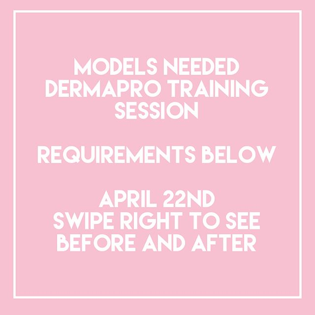 We need 6-8 models for a new amazing treatment. Some people have already asked me about this so spots are limited. We need models (preferably pre-existing clients or your close friends/family). We need models with: hooded eyelids, wrinkly crows feet, or loose belly button skin. The treatment has minimal discomfort, heals in 5-10 days, and results are permanent! The dermapro PSR tightens skin fibers to soften and lift lines/skin/folds. If you are interested please DM me your email address, and photos of the areas of concern without makeup. Photos should be taken with eyes open for hooded lids. Thank you guys so much! See everyone soon. April 22 is our date 🙌.