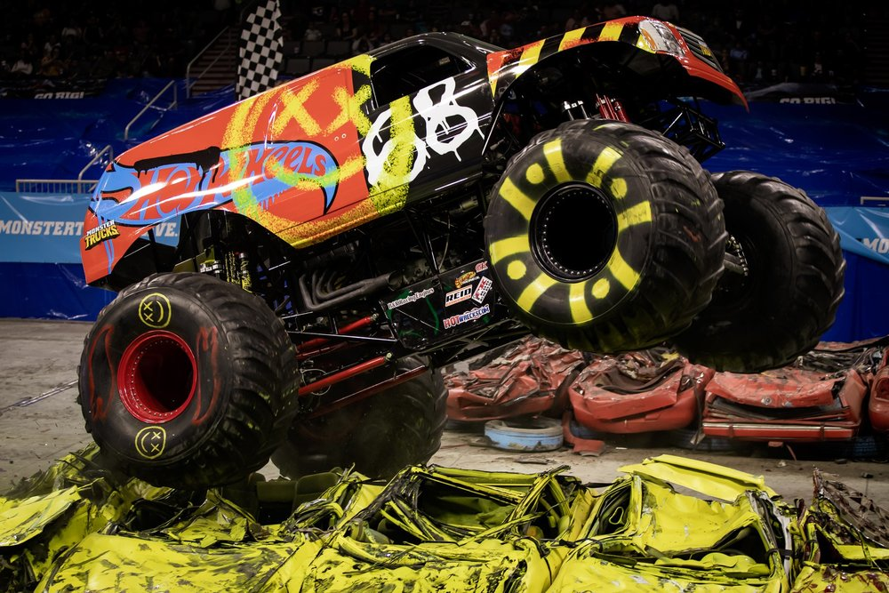 Derick Anson had a new body on his truck, but his driving style never changed on the Hot Wheels tour.