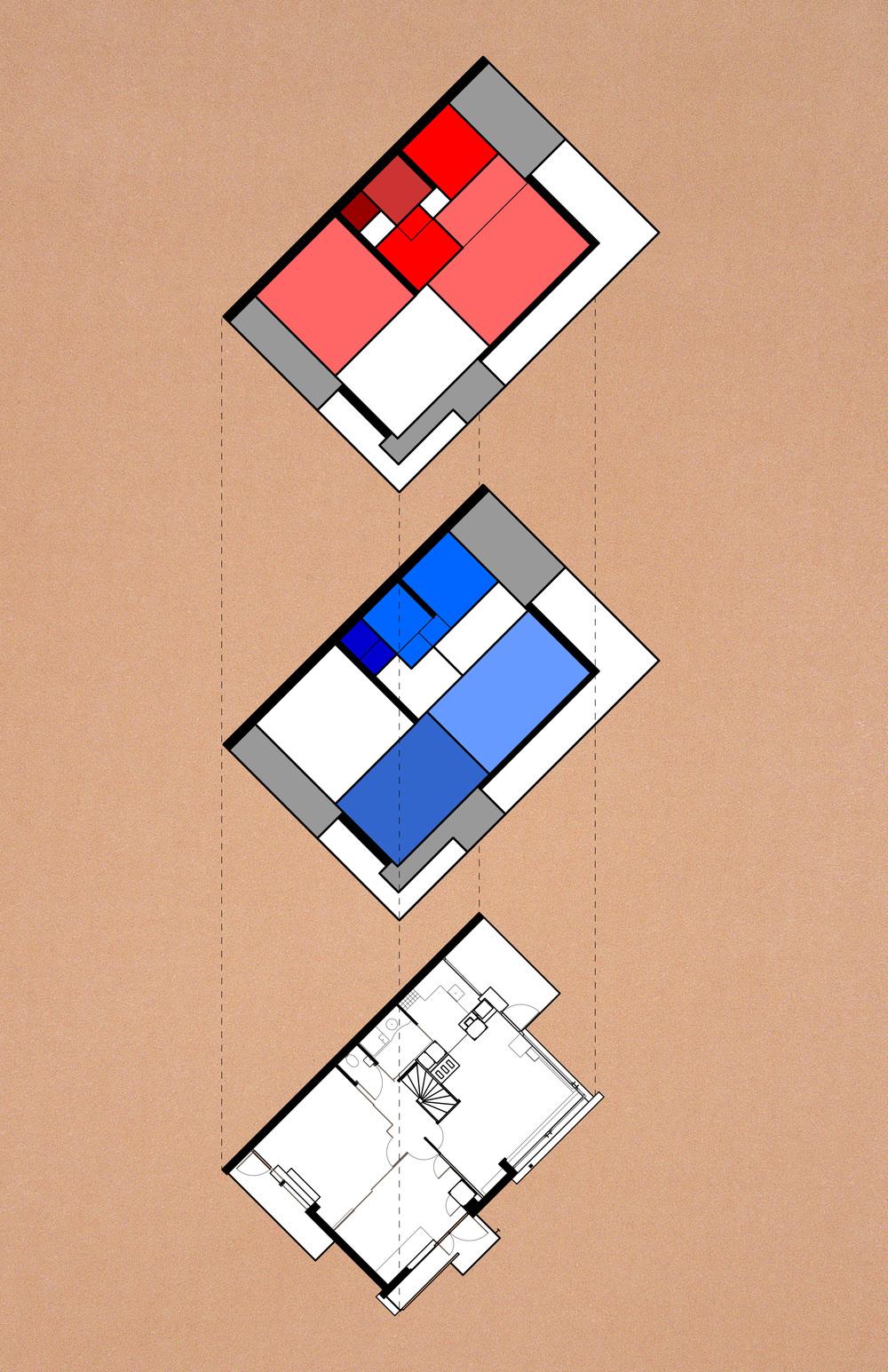 Rieveld-Schroder house planimetric diagram