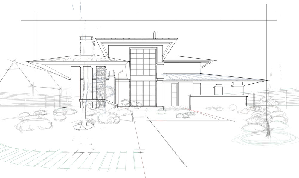 one point perspective framework done in Sketchbook for Mac