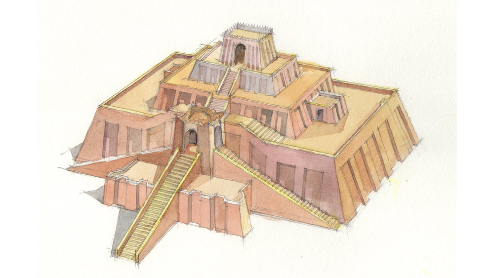 original watercolor study of the Great Ziggurat of Ur