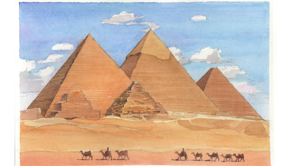 watercolor study of the Great pyramids at Giza 6 x 4.5 inches