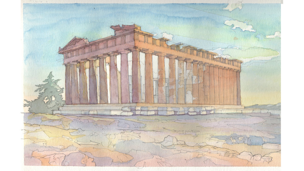 original watercolor study of the Parthenon 9*12 in