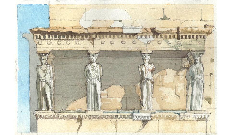 original watercolor study of the 'porch of maiden' at Temple Erechtheion