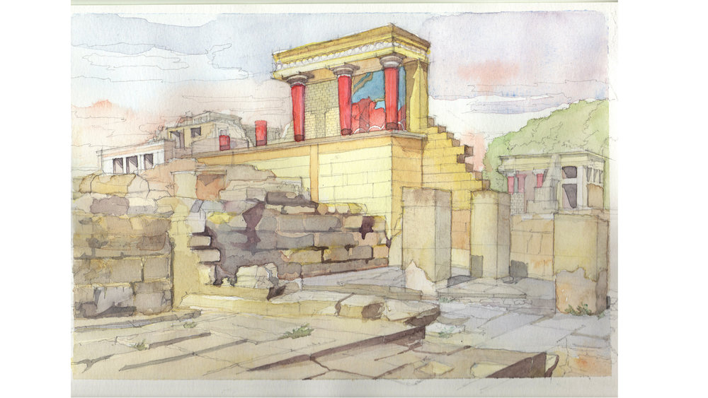 original watercolor study of the Knossos Palace
