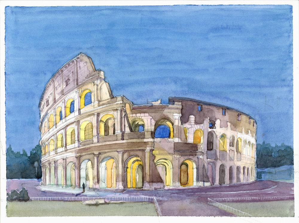 Colosseum watercolor study