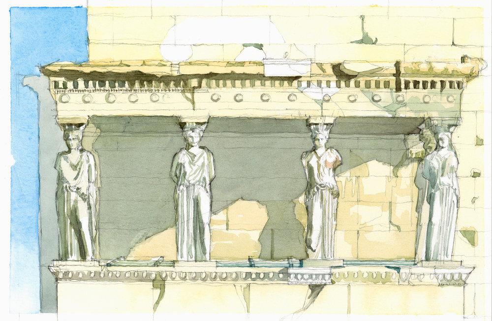 Temple Erechtehon watercolor study