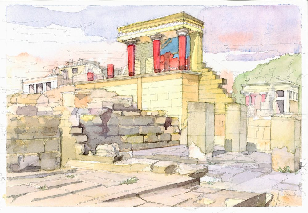 Knossos palace watercolor study