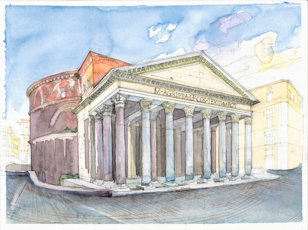 the pantehon watercolor study