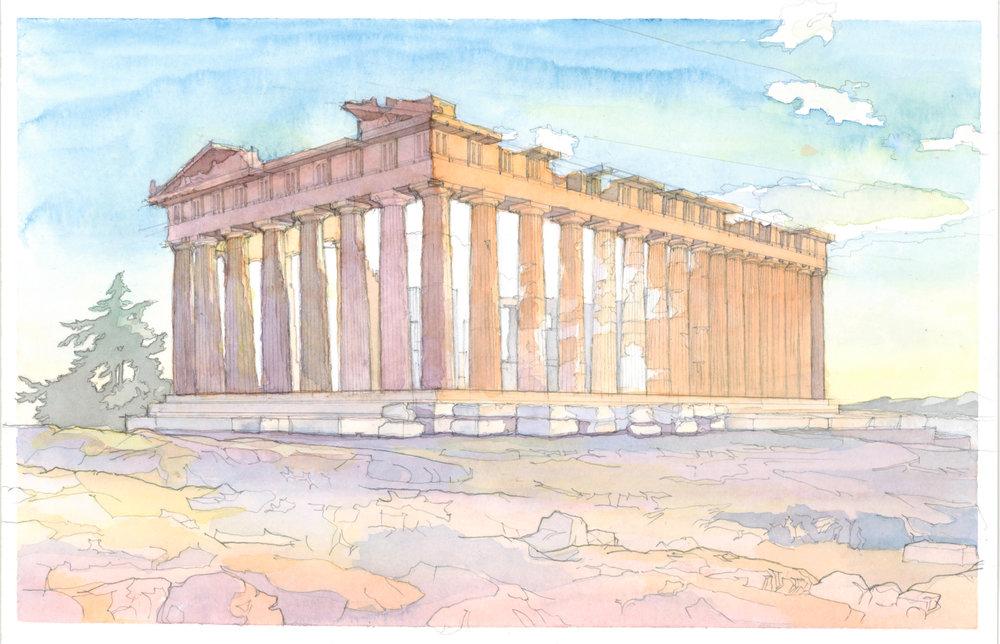 the parthenon watercolor study