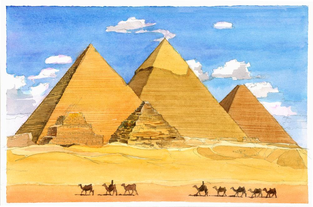 the pyramid of giza watercolor study