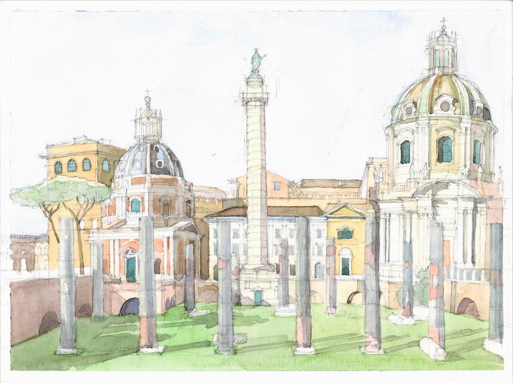 the forum of Trajan watercolor study