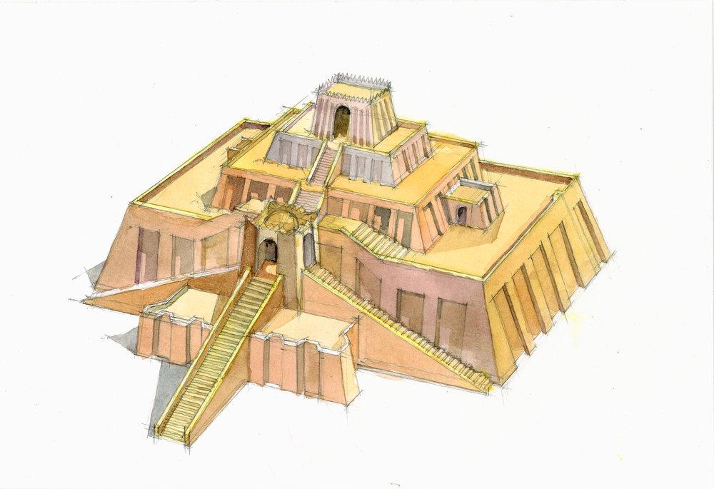 the great Ziggurat of Ur watercolor study