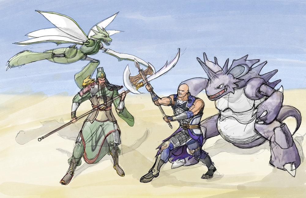 Guan Yu & Scyther VS Dian Wei & Nidoking