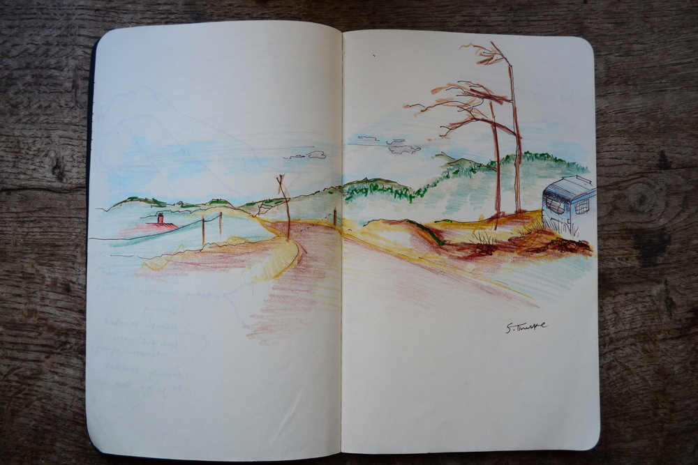 A pencil sketch of the view from Nathaniel's Farm Project in Aljezur, Faro, Portugal.