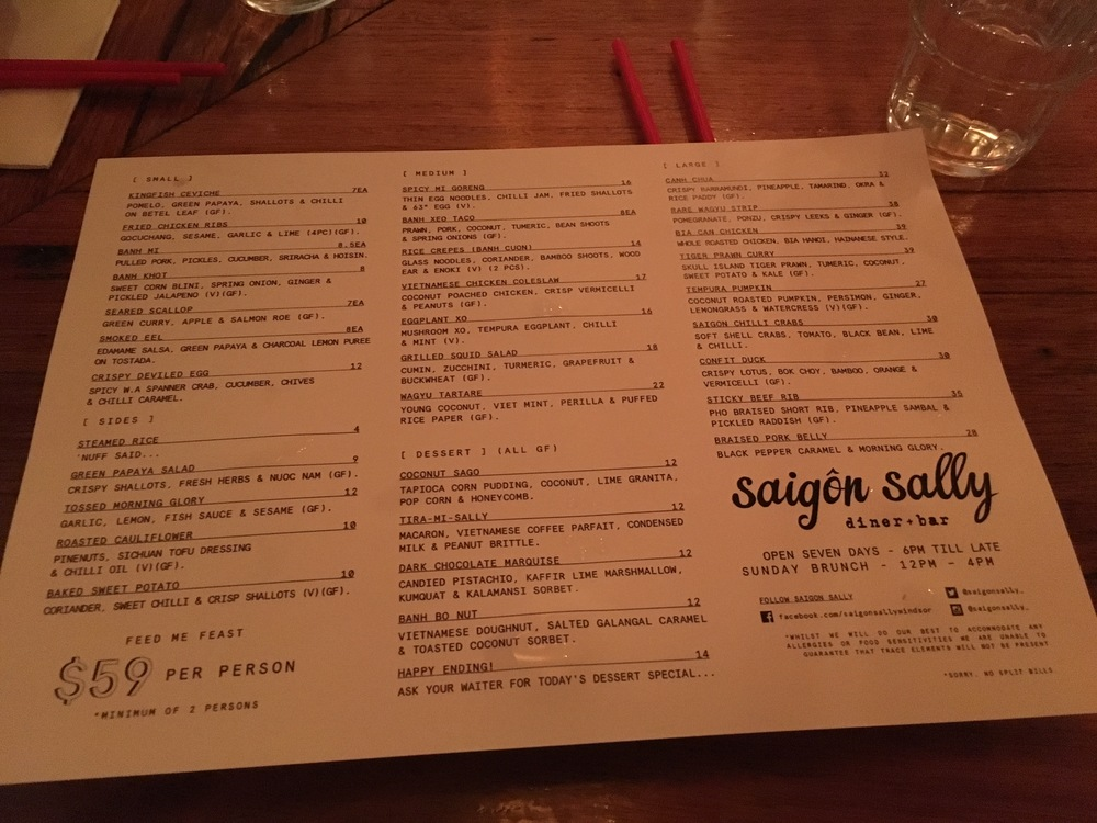Saigon Sally Menu