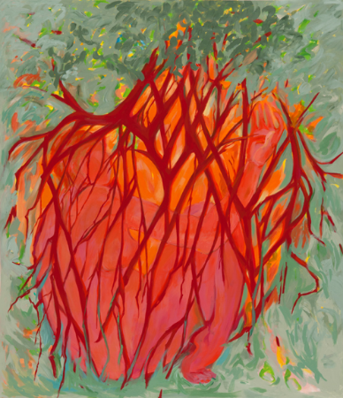 Hazel Belvo,  Resurrection: Roots , 2013-14, acrylic on canvas, 54 in. x 50 in.