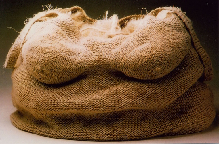 Karen Searle,  Body Bag III: Tote,  1999, knit linen, flax fiber, and rope, 28 in. x 16 in. x 16 in.
