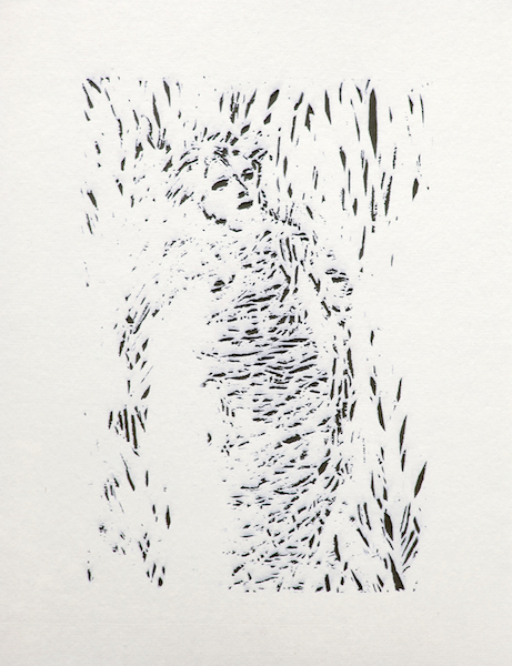 Diane Katsiaficas,  Wrapped  , 2014, laser etched paper, 36 in. x 24 in.