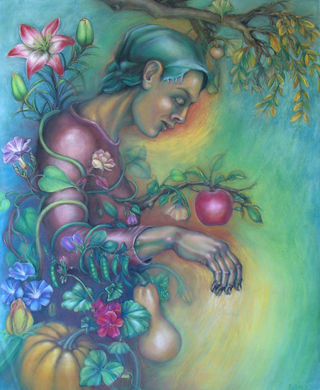 Karen Wilcox,  Flora , 2015, pastel on paper, 46 in. x 38 in.