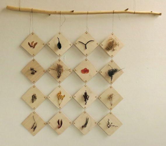 Alis Olsen, Sampler Quilt  , 2014, wood, waxed linen, plants,  48 in.X 50 in.