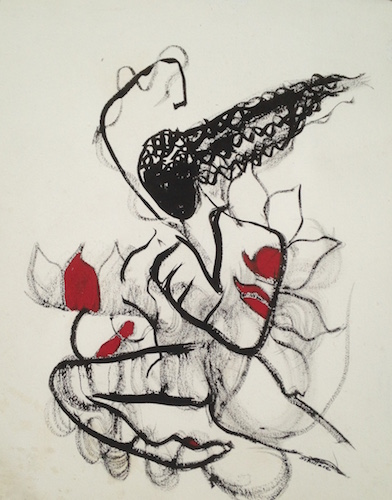 Ellen Schillace,  Woman on Fire , 2000-05, ink on paper, 33 in. x 39 in.
