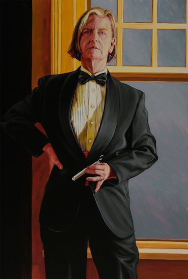 Patricia Olson,  Self-Portrait at 60 [after Beckmann] , 2011, oil on panel, 55 in. x 37 in.