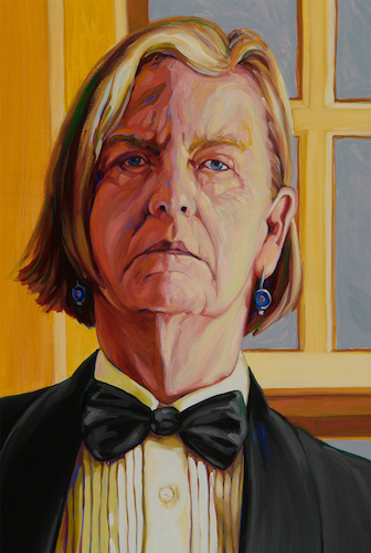 Patricia Olson,   Self-Portrait at 60 [after Beckmann]  , 2011, oil on panel, 55 in. x 37 in. (detail)