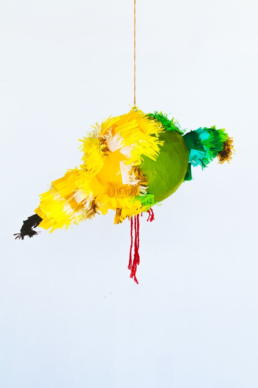 Carolina Borja,   A Bird in the Hand is Worth Two in the Bush ,  2015,  paper mâché , crepe paper, tissue paper, found sticks, thread. 6 ft.   x 4 ft.   x 8 ft. (detail)