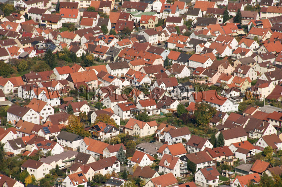 Aerial view of a small, clean and safe town - Stock Image