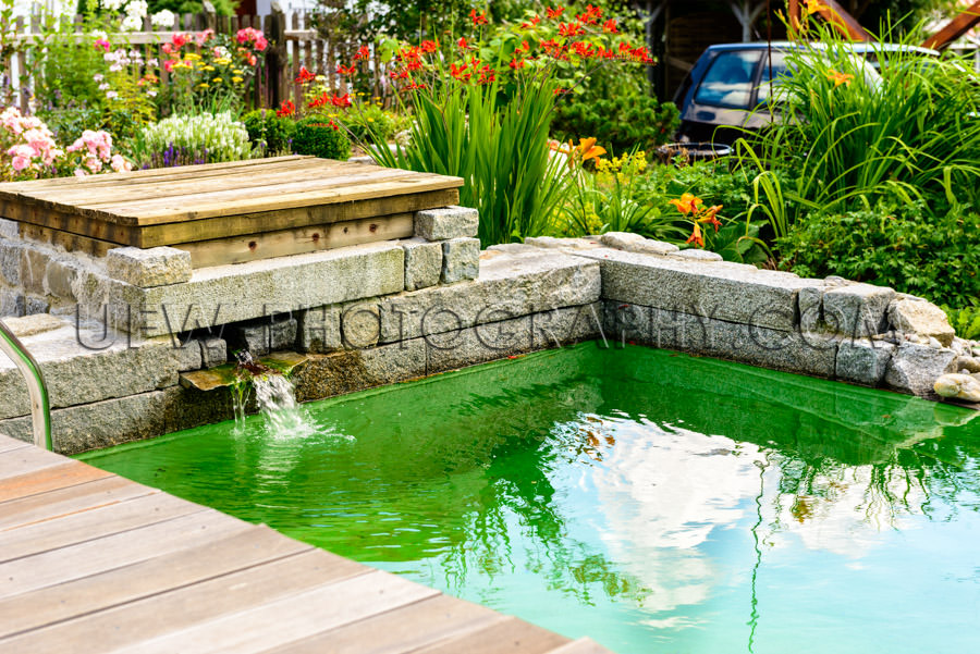 Beautiful garden pool wooden patio flowers turquoise water Stock