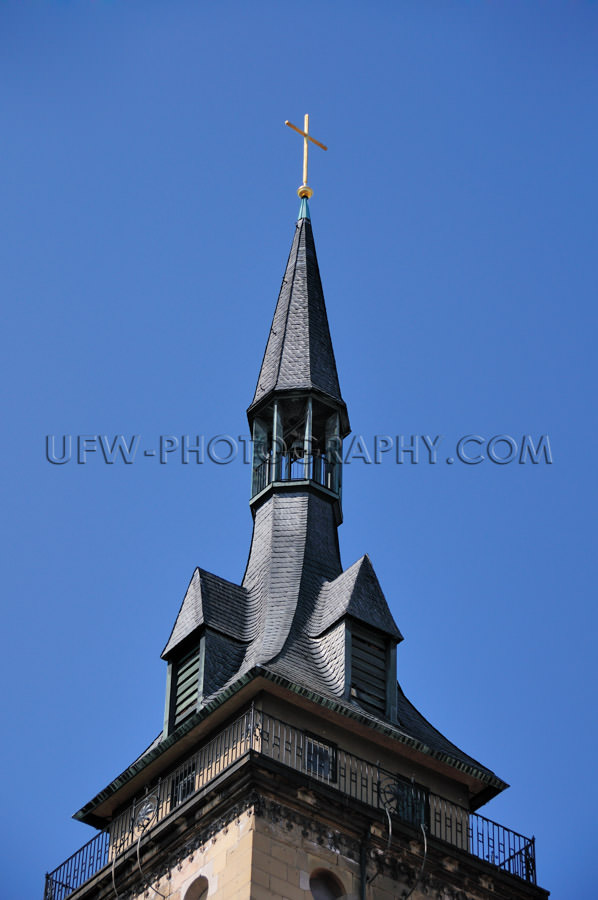 Church tower against dark blue clear sky Stock Image