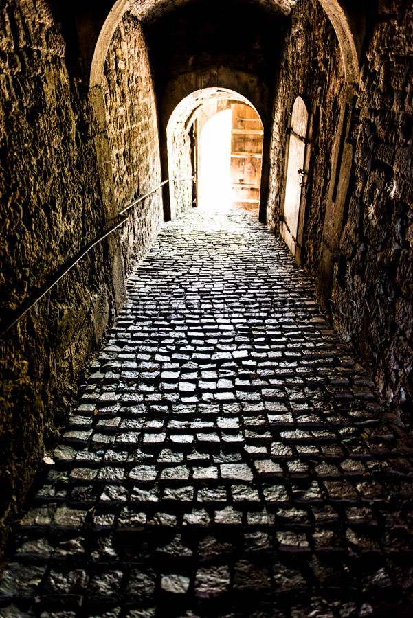 Dark gloomy tunnel hallway castle bright light at end medieval S