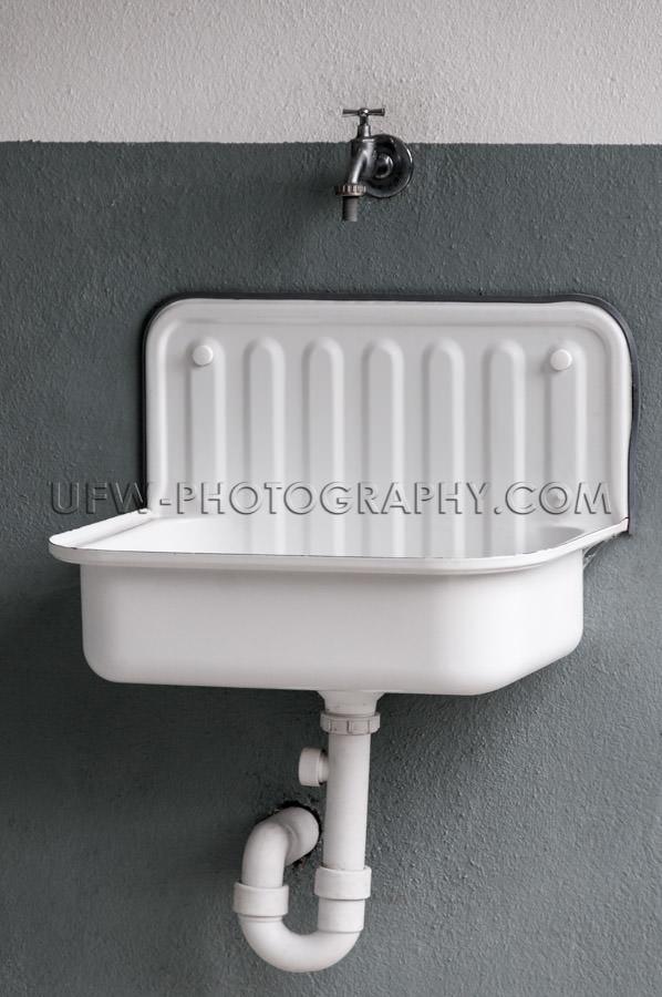 Retro white metal clean bathroom sink full frame image Stock Ima