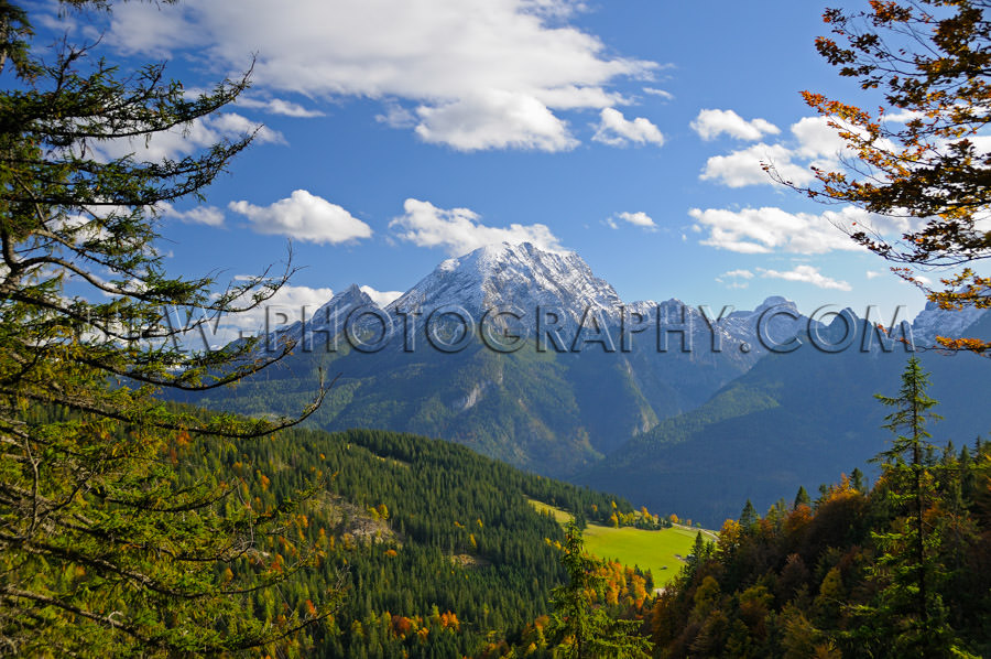 Beautiful tree framed mountain range landscape Stock Image