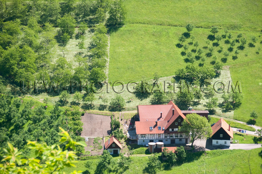 Lovely aerial view farm buildings trees meadows black forest Sto
