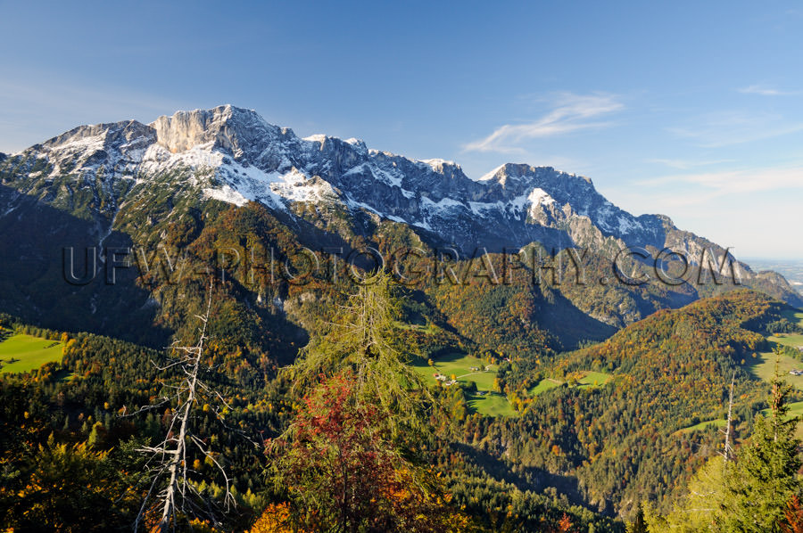 Scenic alpine valley landscape with mountain ridge Stock Image