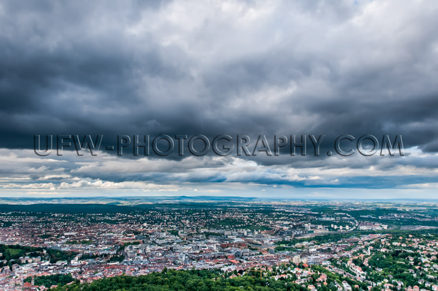 Aerial view cityscape capital horizon dark clouds Stuttgart Germ